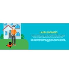 Man moves with lawnmower vector image