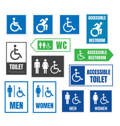 restroom signs for disabled people accessible vector image vector image