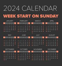 simple 2024 year calendar vector image vector image