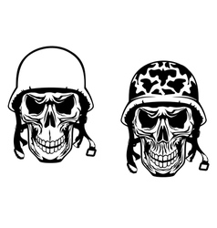 Warrior and pilot skulls in military helmets vector