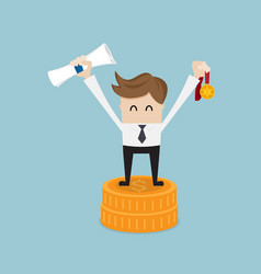businessman success with gold medal on coins stack vector image vector image