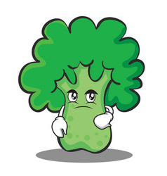 Confused broccoli chracter cartoon style vector