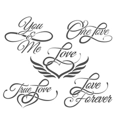 Love Lettering in Tattoo style vector image vector image