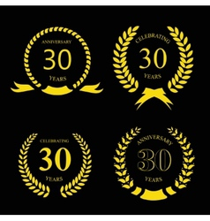 thirty years anniversary laurel gold wreath set vector image