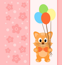 background card with funny cat vector image
