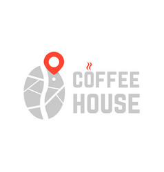 coffee house logo with map pin vector image