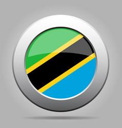 flag of tanzania shiny metal gray round button vector image vector image