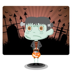 Frankenstein with Halloween vector image vector image