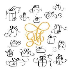 set of black vintage doodle gift icon on vector image