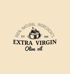 vintage olive logo retro emblem with rural vector image vector image