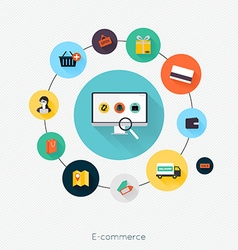 E-commerce flat poster with monitor and icons set vector image