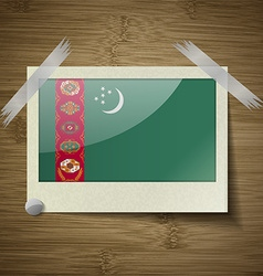 Flags turkish northern cyprus at frame on wooden vector