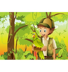 A young boyscout with a parrot vector