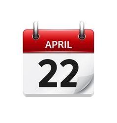 April 22 flat daily calendar icon Date vector