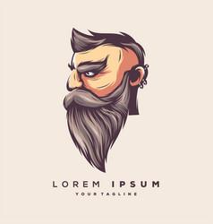 awesome bearded man logo design vector image