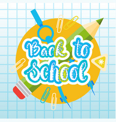 back to school logo text on notebook background vector image