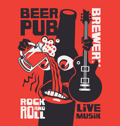 banner for rock-n-roll pub with funny beer bottle vector image
