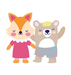 bashower cute little female fox and bear vector image
