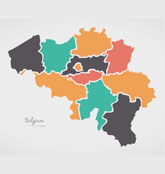 belgium map with states and modern round shapes vector image