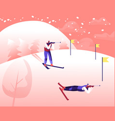 Biathlon competition sportsmen aiming and vector