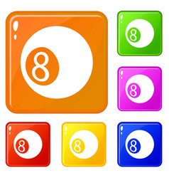 billiard ball icons set color vector image