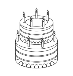 Birthday cake icon in outline style isolated on vector