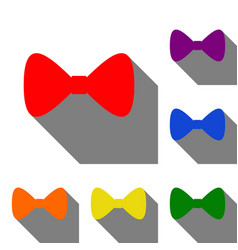 bow tie icon set of red orange yellow green vector image