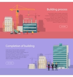 Building Process Completion of Building vector image