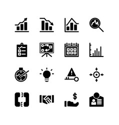 Business icon set solid or glyph style icon vector