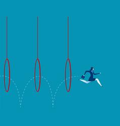 Business woman jumping through hoops vector