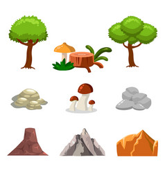 Cartoon nature landscape elements set trees vector