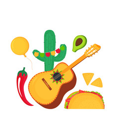 cinco de mayo 5th may guitarrone cactus vector image