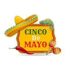 cinco de mayo icon with chameleon maracas vector image