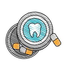 color crayon stripe cartoon capsules for dental vector image