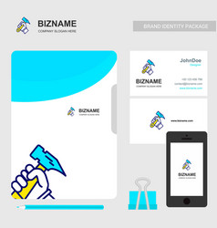 company brochure design with blue theme and vector image