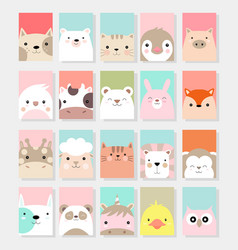 cute baby animal card cartoon hand drawn style vector image