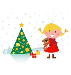 cute girl with christmas tree vector image