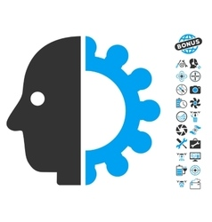 Cyborg Head Icon With Copter Tools Bonus vector