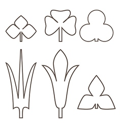Decorative outline leaves icons set isolated black vector