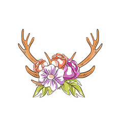 Deer horns with flowers hand drawn floral vector