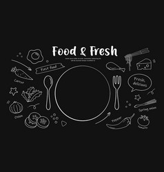 drawing black and white food fresh design vector image