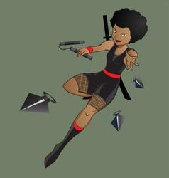 Female afro ninja character vector