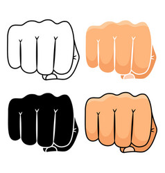 fist punch icons set vector image