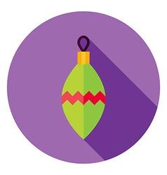 Flat Design Decorative Christmas Toy Circle Icon vector image