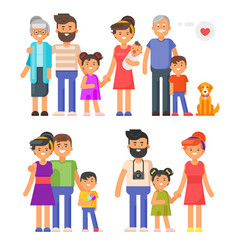 Flat style family set vector