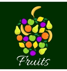 Fruits flat icons combined in shape of apple fruit vector image