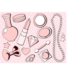 Girlish fashion accessories vector