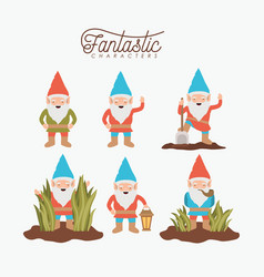 Gnome fantastic character set with costume and vector