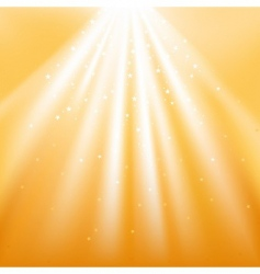 Golden light rays with stars vector