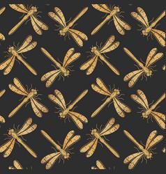 Golden textured dragonfly seamless pattern vector